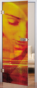 Glastür MAME Crash. 10 mm starkes Verbundglas, glatte Oberfläche, Design Crash 1. Hier mit Beschlagset Arcos O/S und Türdrücker Arcos Studio, Oberflächen LM ähnlich Niro matt.